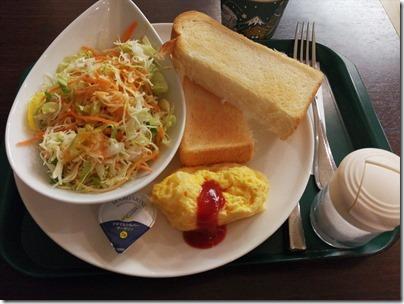 羽田空港国際線の朝ごはん・スターリーカフェ PRONTO 野菜たっぷりチーズオムレツセット
